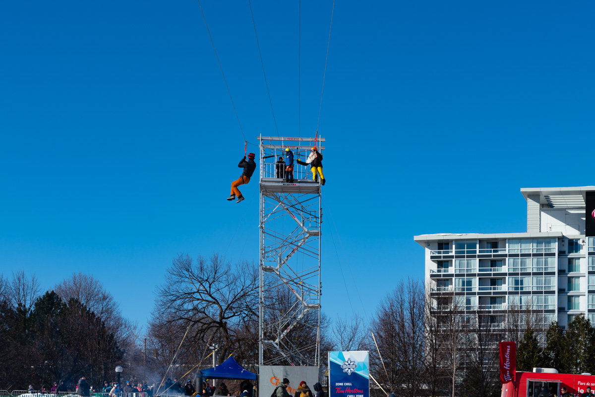 Ziplining at Winterlude