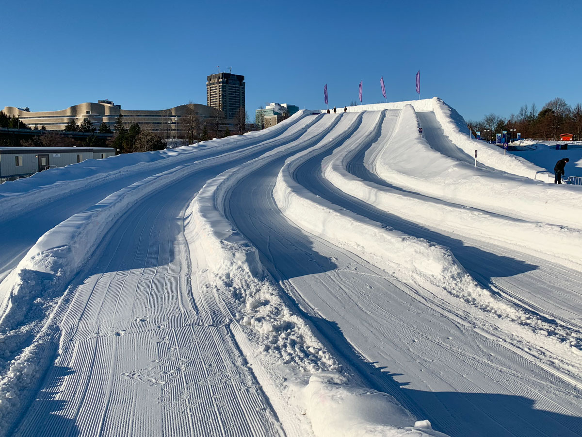 Snow Tubing at JAques Cartier Park for Winterlude