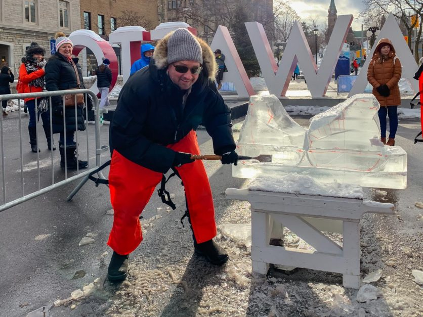 Ice sculting at Byward Market Winterlude