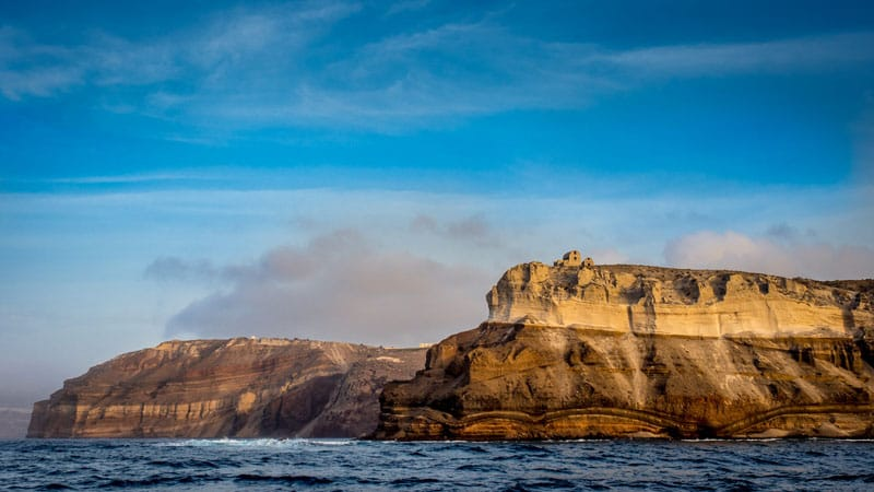 about santorini cliffs