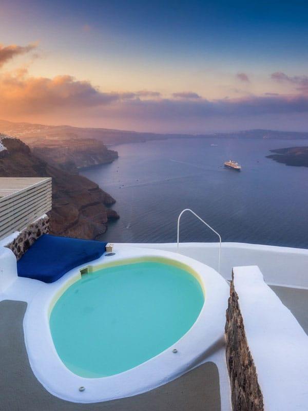 about santorini pool ocean