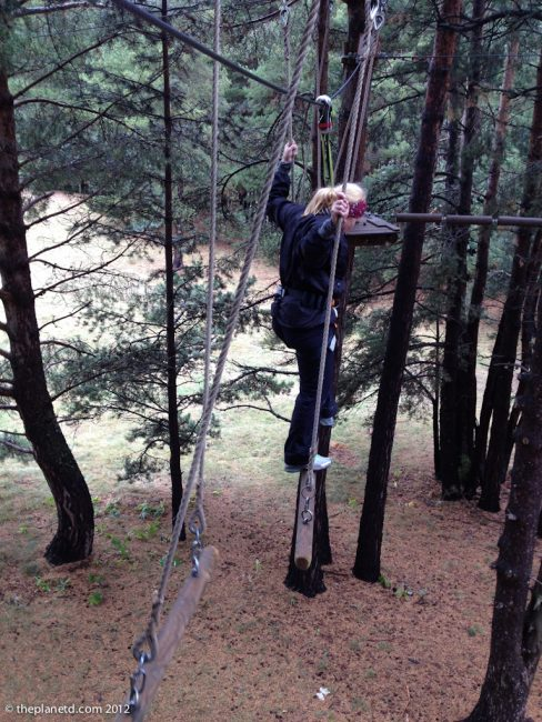 adventure travel blogger deb on high ropes