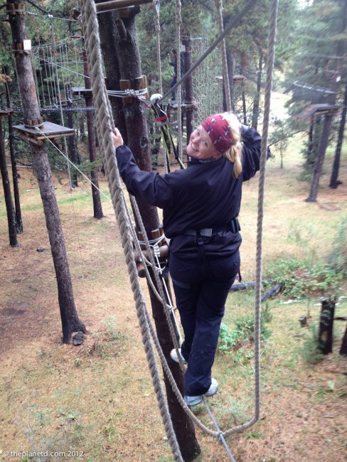 travel writer deb on high ropes