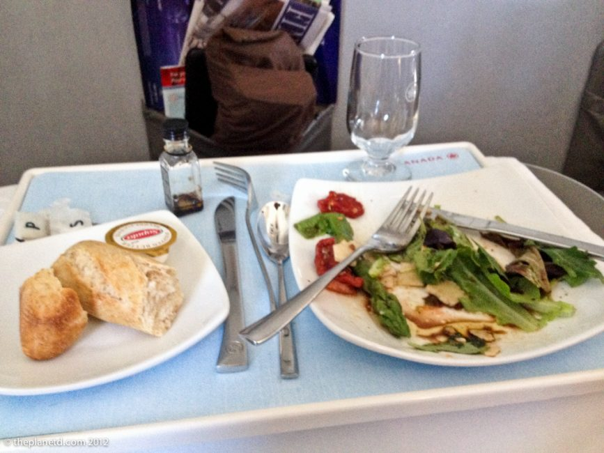 business class meal on airplane