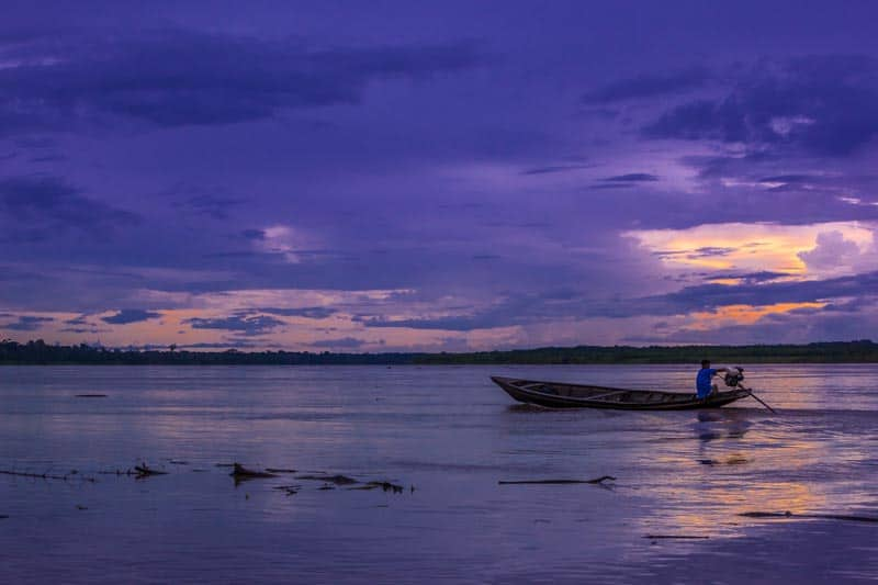 amazon river peru sunset