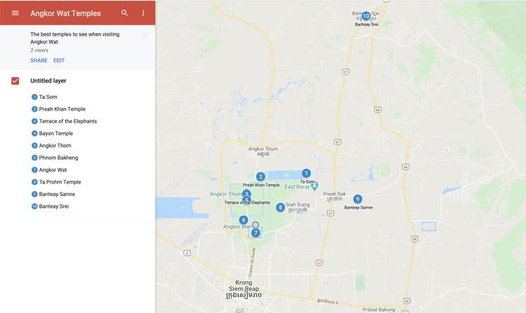 map of angkor wat visit plan