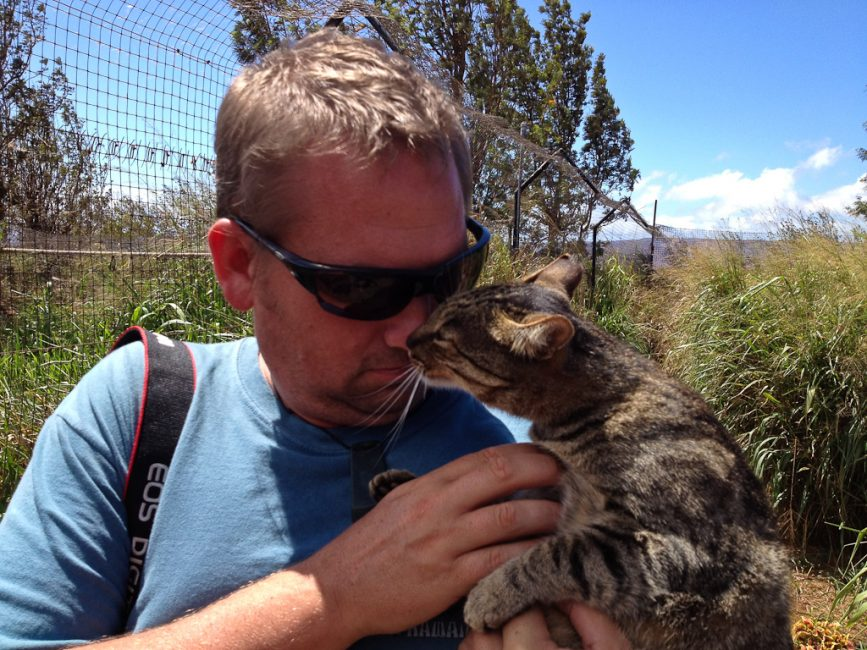 travel blog photographer Dave cuddles with cats