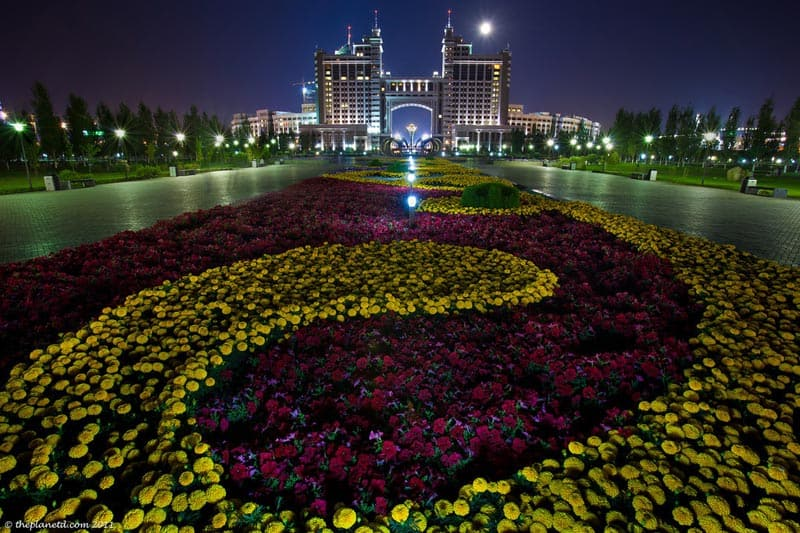 astana at night in Kazakhstan