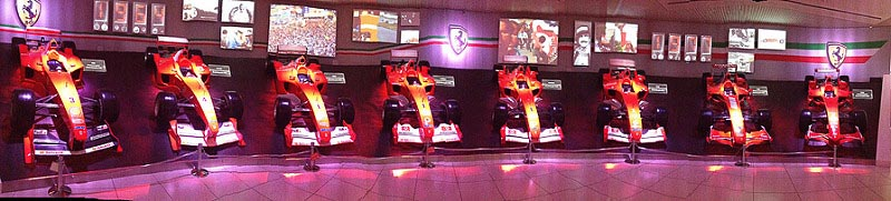 ferrari musuem wall of ferarries