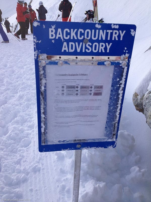 advisory in the backcountry of whistler
