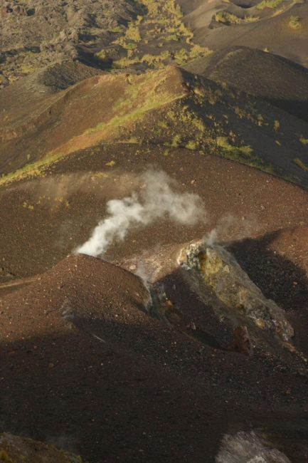 Steam rises from this active Volcano