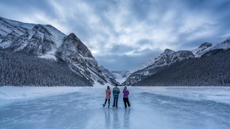 hockey on Lake Louise in Banff Canada