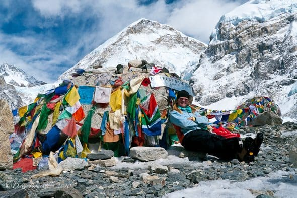 Deb Takes a rest at Everest Base Camp