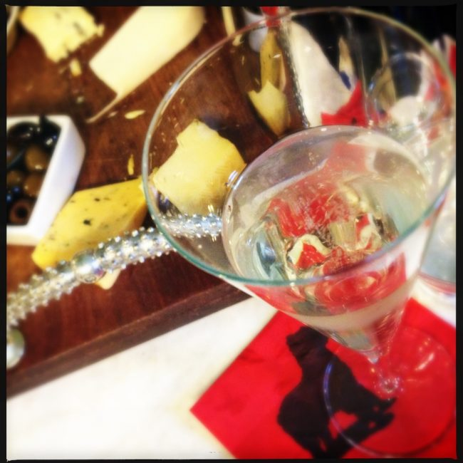 cheese plate and martini glass travel photo