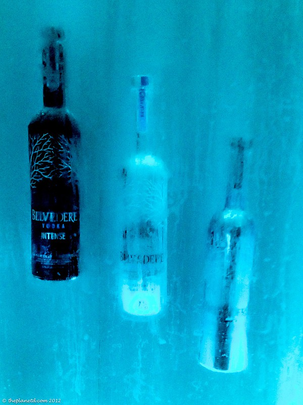 bearfoot bistro vodka bottles frozen in wall