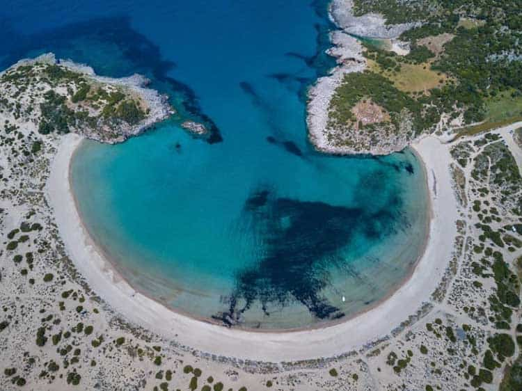 Voidokilia Beach arial view of horseshoe beach | beautiful
