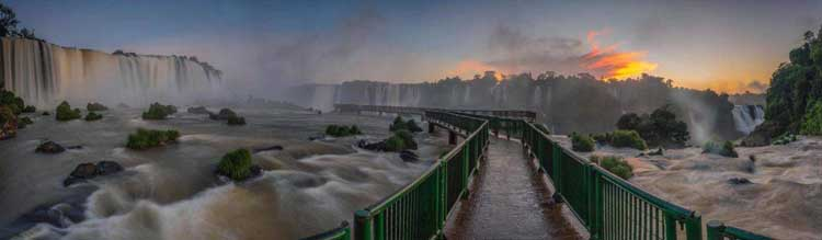 boardwalk through iguazu falls brazil