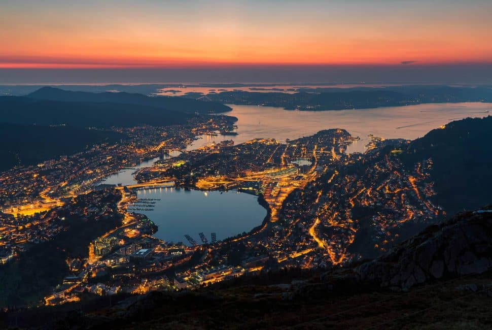 Bergen, Norway from Mount Ulriken