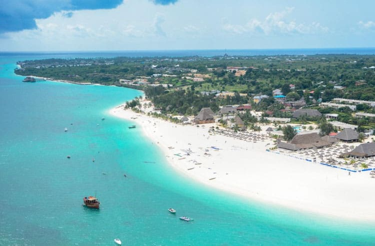 arial view of Kendwa Beach Zanzibar island