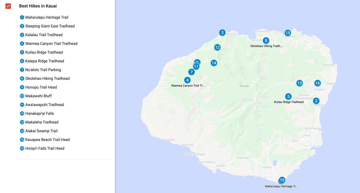 best hikes in kauai map