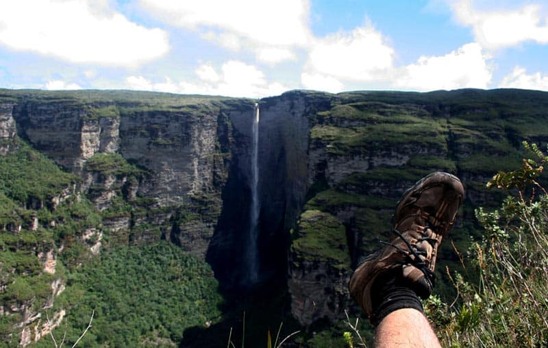hiking south america waterfall
