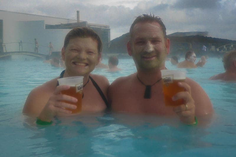 Blue Lagoon and beer