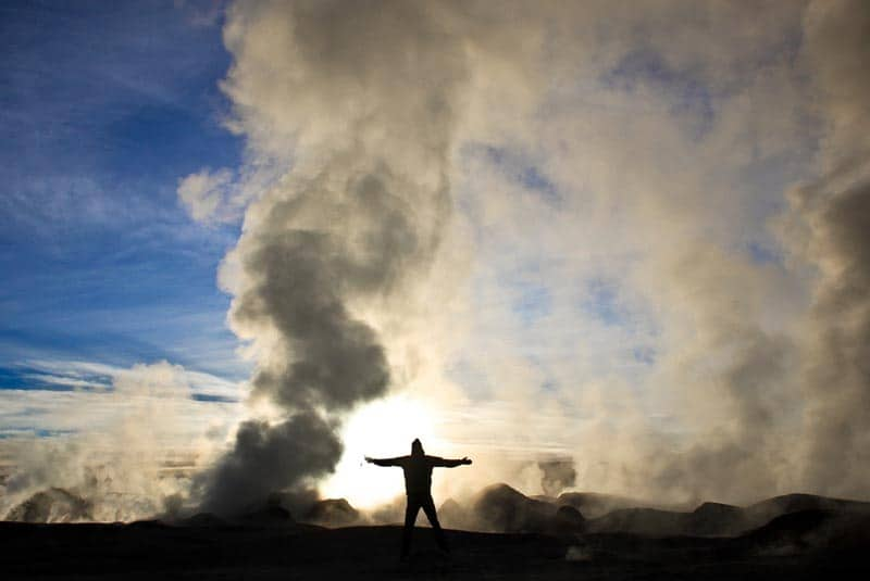 geyser of salt flats of bolivia
