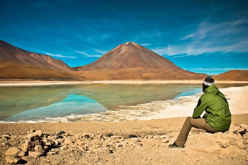 green lagoon of andean plateau
