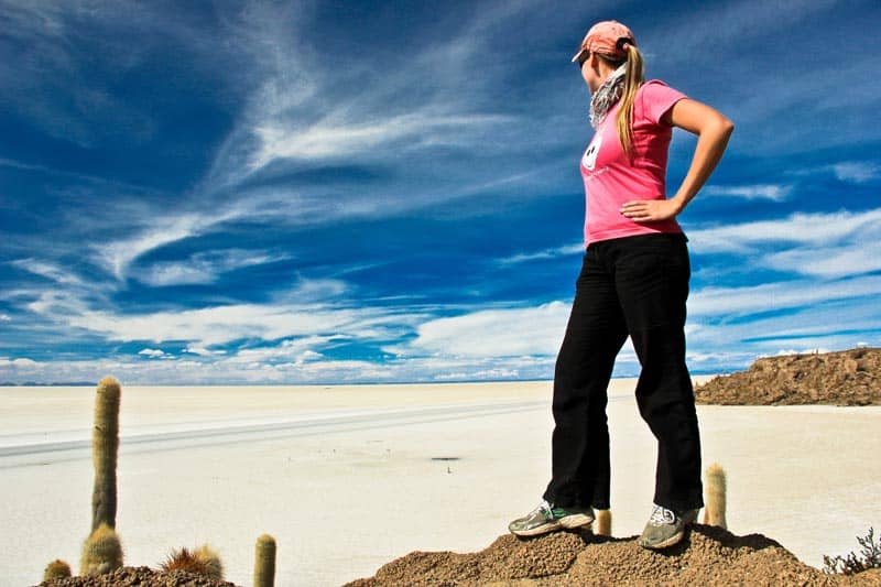 looking over the salt flats of bolivia