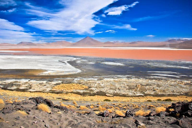 bolivian salt flats red lagoon