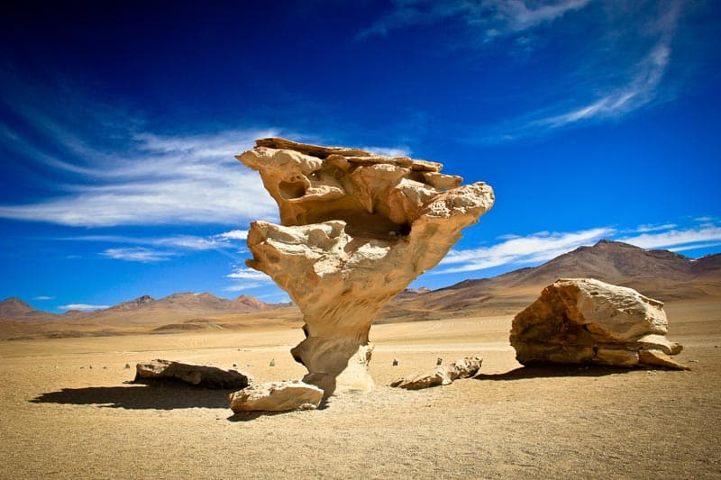 bolivia salt flat rock formations