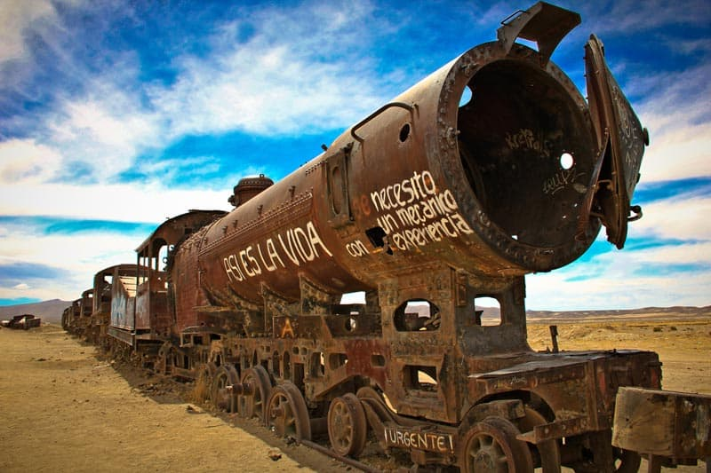 bolivia salt flats train in desert