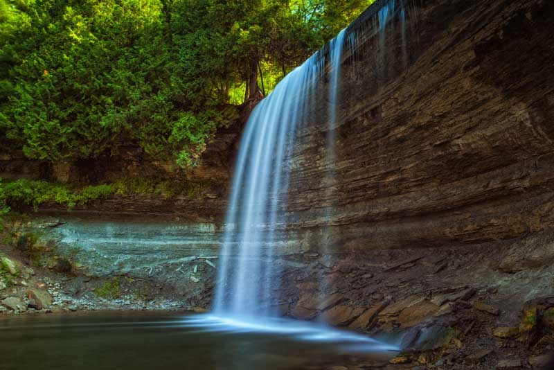 The beautiful Bridal Veil Falls on Manitoulin Island