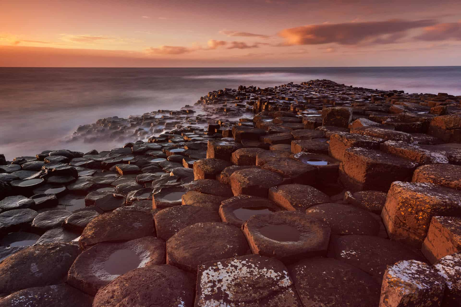 giant's causeway at sunset in northern ireland