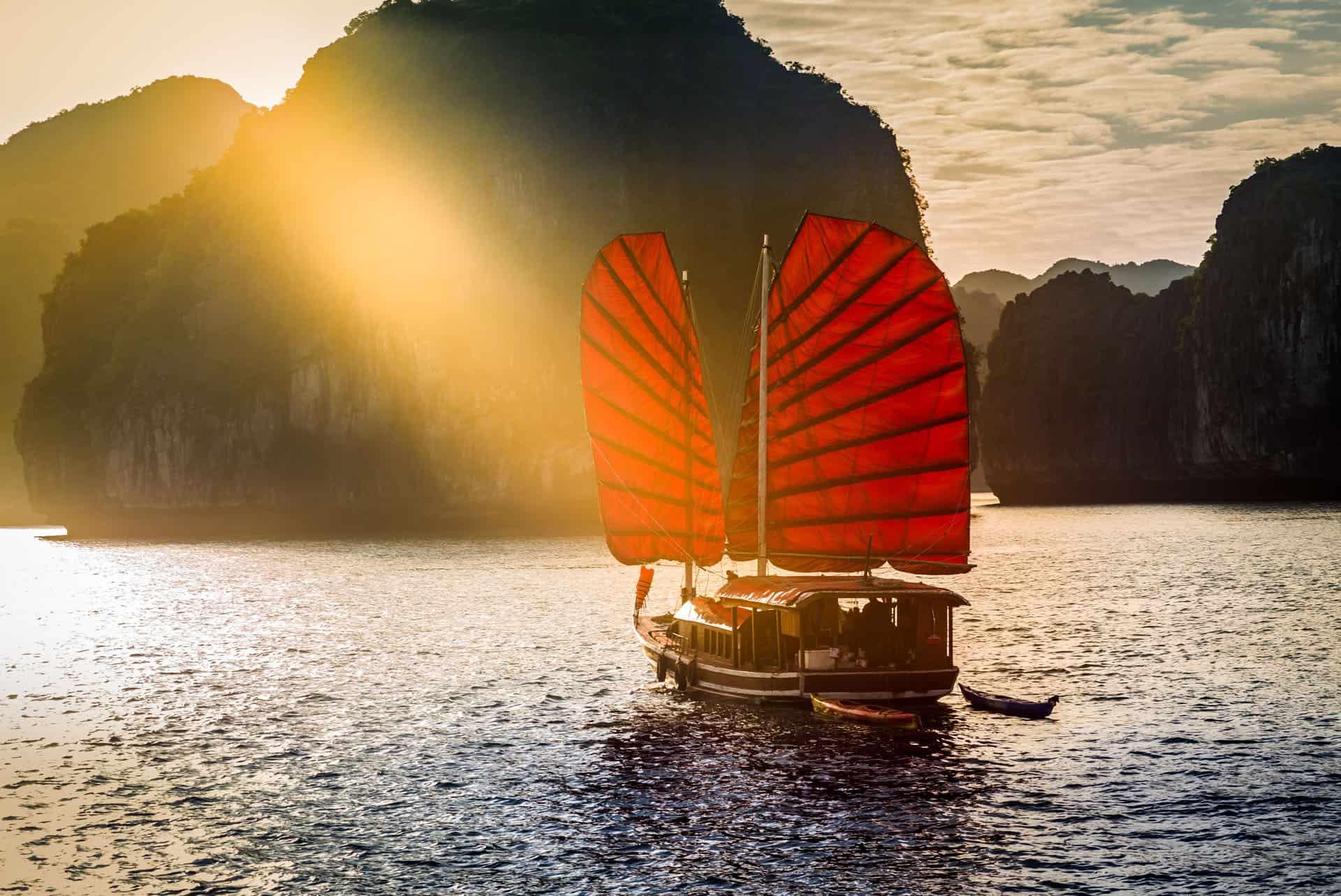 ha long bay with junk boat vietnam
