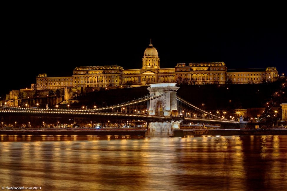 The Budapest Chain Bridge at night.