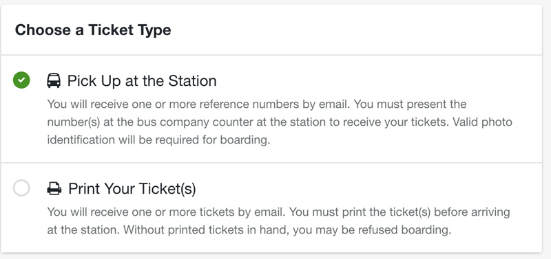busbud ticket options