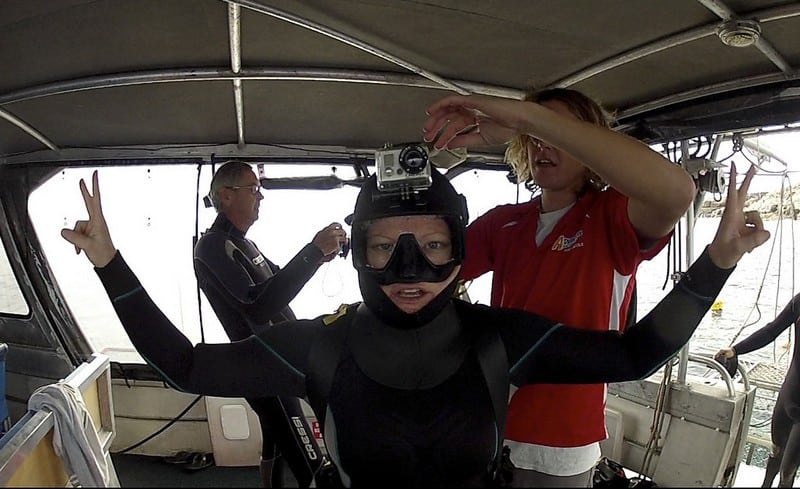 cage diving great white sharks Australia - Deb preparing for a dive