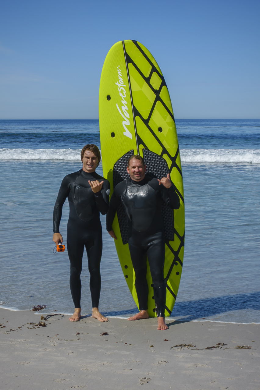 surfing in carmel on our california travel