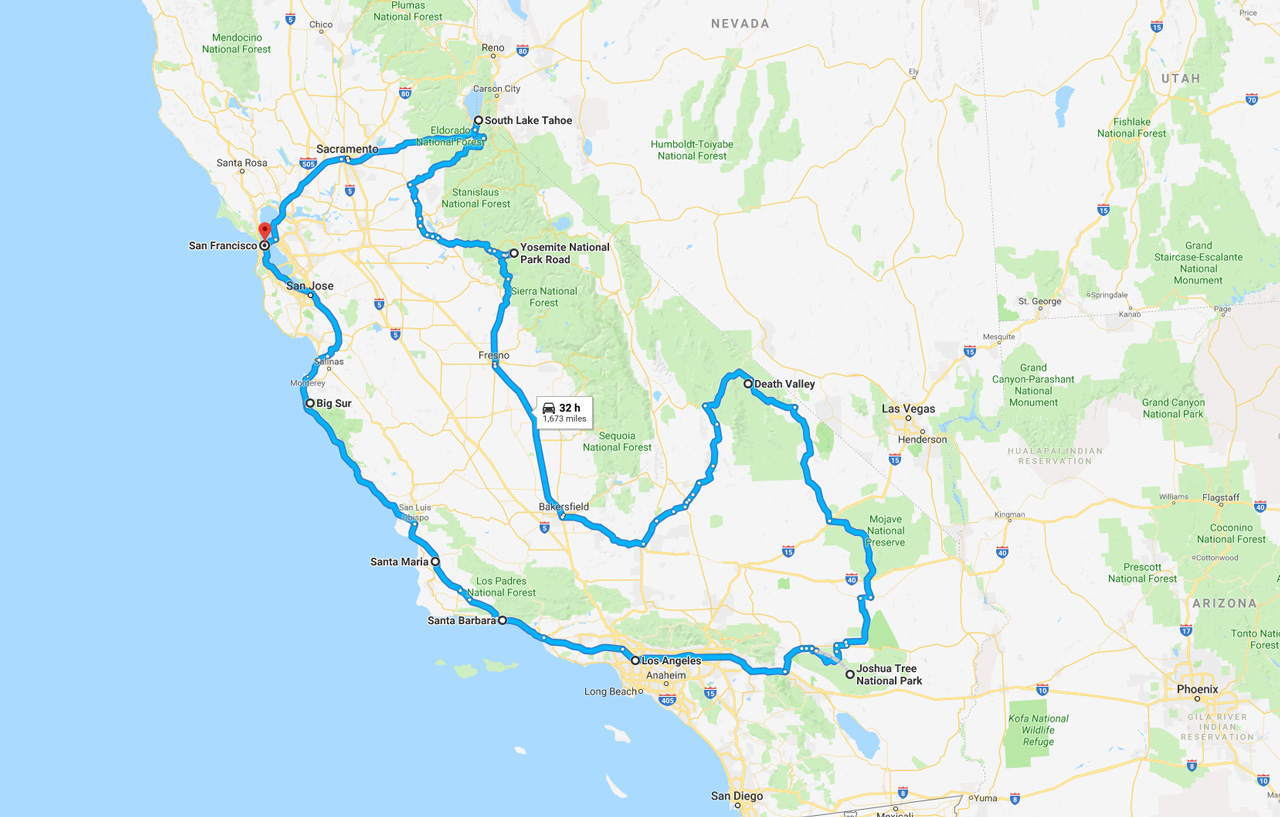 California Road Trips - California Map