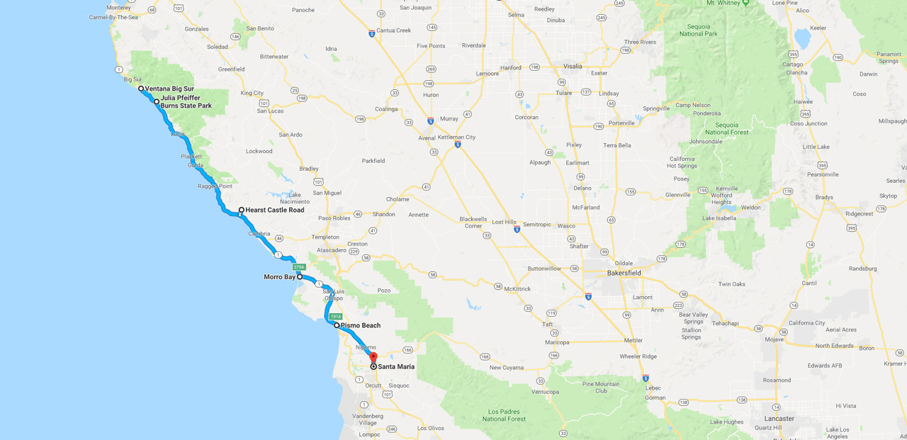 on california road trip planner map