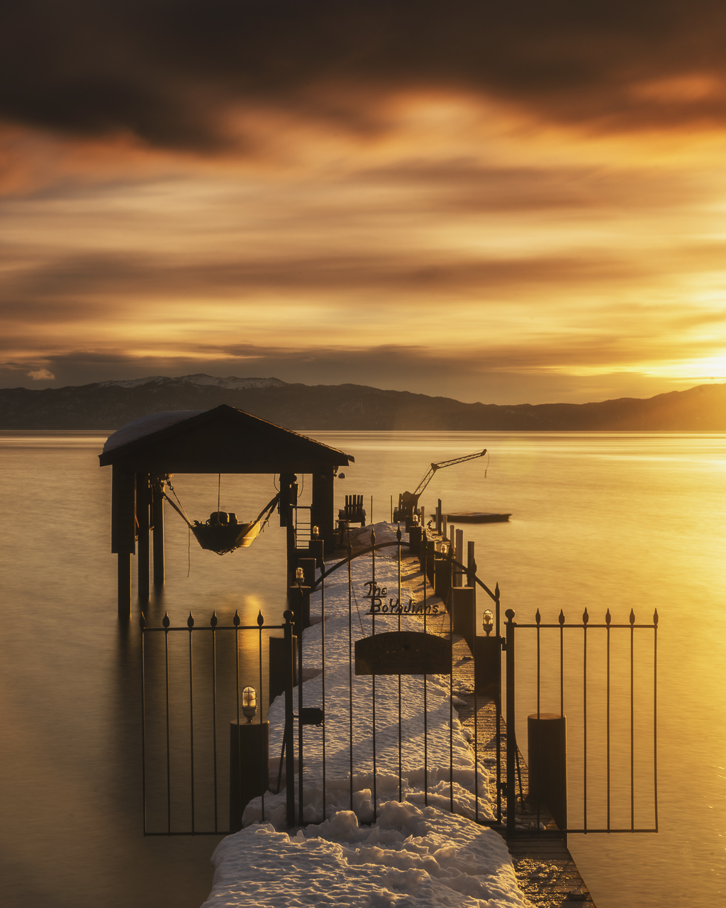 lake tahoe sunset winter