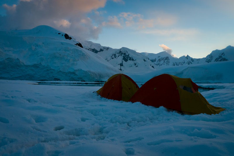 camping in antarctica night