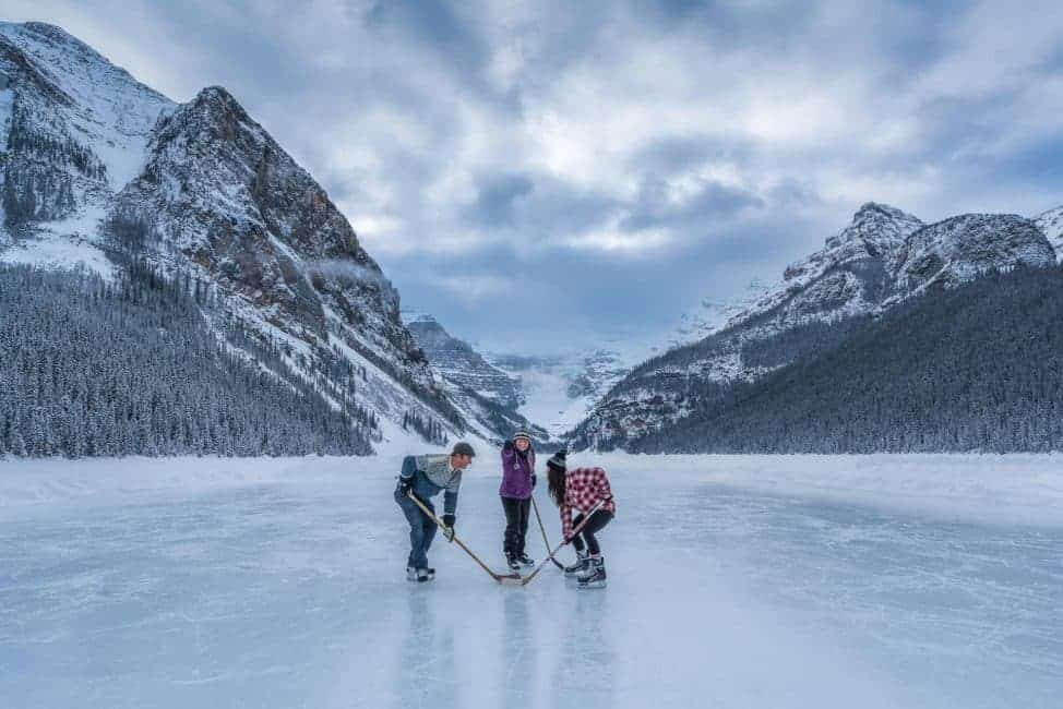 pond hockey on lake louise