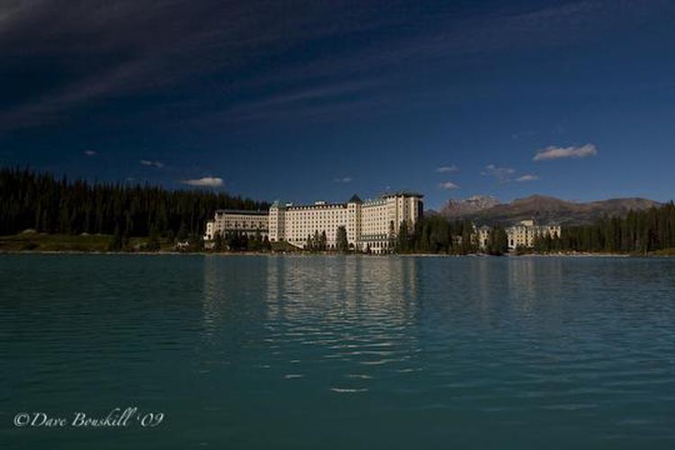 fairmont lake louise from canoe