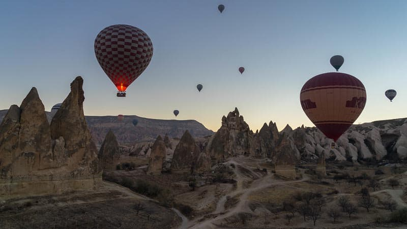 hot air balloons and fairy chimneys