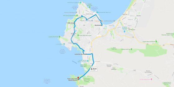 road trips california map