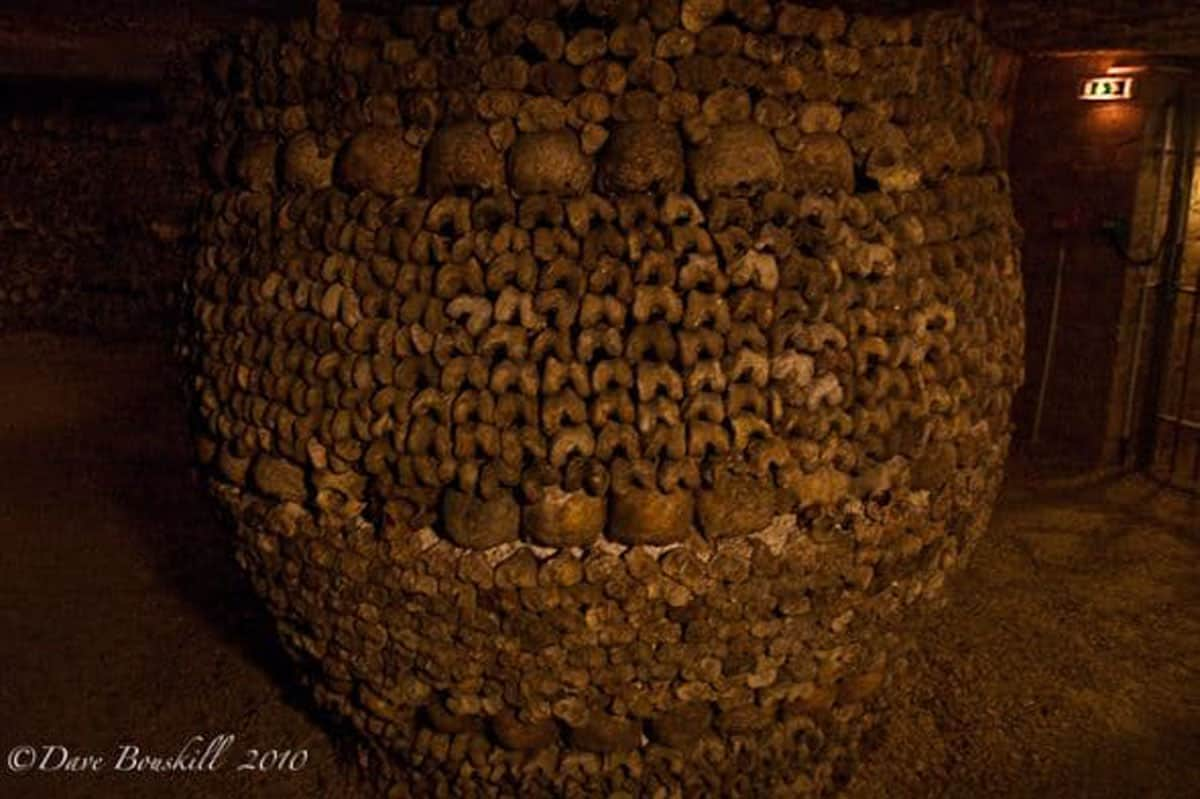 paris catacombs barrel of bones