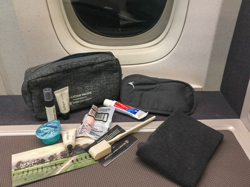 ammenity kits on cathay pacific
