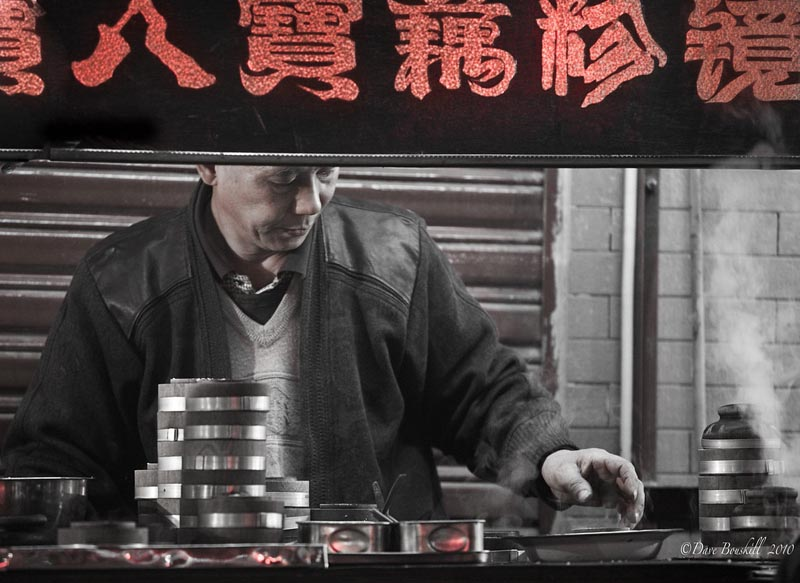 street vendor working at night in china